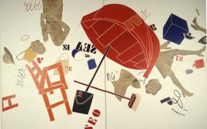 Emilio Tadini, Museo dell'uomo: donne che corrono in riva al mare, 1974, acrilico su tela, cm 261x400.