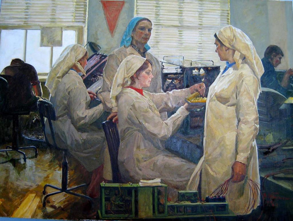 Tarasenko-Vladimir-Stefanovich-Operaie-di-elettronica-al-lavoro1976
