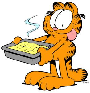 Garfield con una gustosa teglia di lasagne