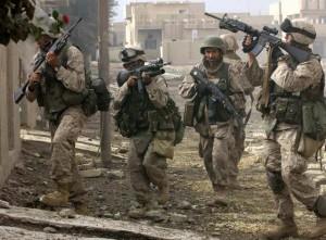 US marines patrol the restive city of Fa