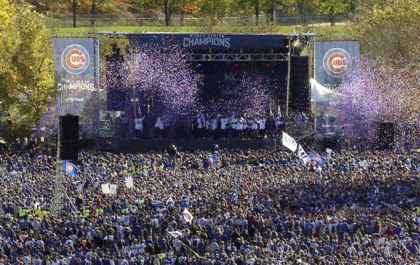 APphoto_World Series Cubs Parade Baseball
